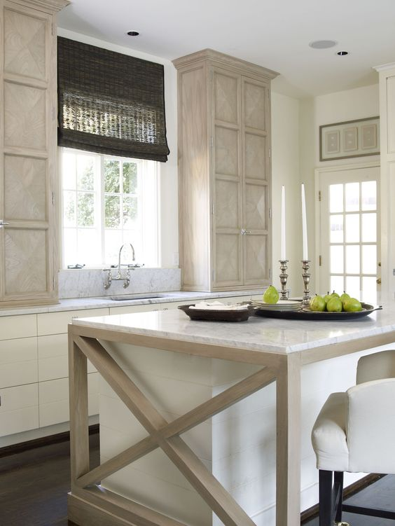 natural fiber window dressing on kitchen